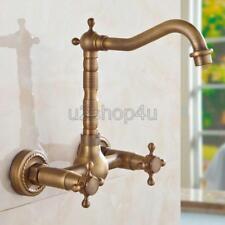 Antique Brass Bathroom Kitchen Dual Cross Handles Sink Faucet Wall Mount Uan024a