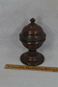 old period treen pedestal wood bowl box sugar mahogany 19th c 1800s original