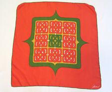 "Vtg Signed 1960s Mod Burmel Silk Scarf Green Red Orange Yellow 26 3/4"" X 26 3/4"""