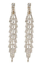 CLIP ON EARRINGS - gold drop earring with clear crystals - Cain G