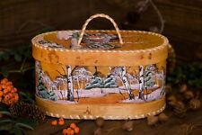 Wooden Bread Box Painted Birch Bark Hand Made in Russia
