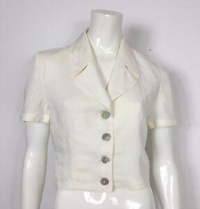 Swiss giacca jacket misto lino manica corta donna usato estivo 42 panna T2232