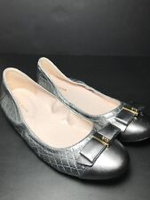 Brand New Cole Haan Elsie Silver Ballet Flat Shoes Metallic Leather Shoes 6