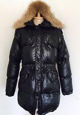 $1280 JUST CAVALLI Men's Black Puffer Down Parker Coat Jacket, Fur Hood, Large