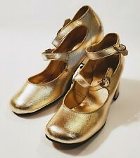 Vintage Delmar Debs 1950 60s Gold Block Heel Mary Jane Shoes Sz 7 Double Strap