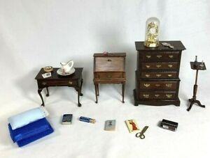 1:12 LOT VINTAGE DOLLHOUSE Wood Desk Plant Stand Dresser Hall Table Accessories