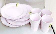 8 Pcs White Melamine Dinner Set 4 Tumbler 13.5cm + 4 Plates 27cm Picnic Outdoor