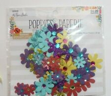 """NEW POPPIES & PAPERIE: """"BRIGHT RHINESTONE & GLITTER PAPER FLOWERS""""  90 Pieces"""