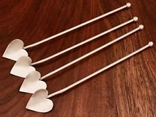 - (4) AMERICAN STERLING SILVER SIPPER STRAWS WITH HEART-SHAPED BOWLS NO MONOGRAM
