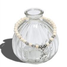 Blanc vintage turquoise tibet argent éléphant pendentif élastique bracelet 6mm perles