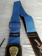 Soldier 2002 BLUE DENIM Adjustable Guitar Strap!! FREE USA SHIPPING!