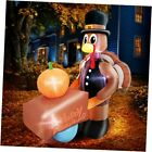 8Ft Thanksgivings Inflatable Turkey with Pilgrim Hat Holding Pumpkin Cart Air