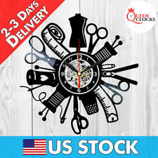 Sewing Room Decor Sew Threads Needle Hobby Vinyl Record Wall Clock Best Gifts