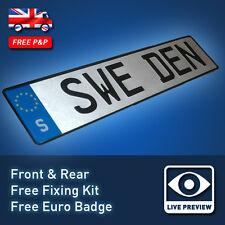 Swedish Sweden Saab Volvo Look Metal Aluminium 3D Pressed Euro Number Plates 26S