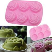 6-Cavity Silicon Rose Soap Molds Cake Chocolate Candy Jelly Silicone Mould G