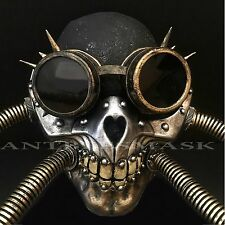 Steampunk Skull Pipe Rivet Goggles Burning Man Halloween Cosplay Mask