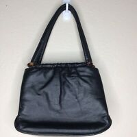 Vintage Leather Purse Jane Shilton Lucite? Rings Clasp 50s? England Small Bag