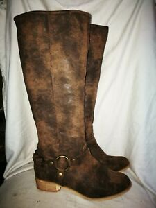 Just Fab brown Faux leather knee boots size 6