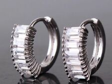 18K White Gold Princess Cut Diamond Hoop Earrings 295