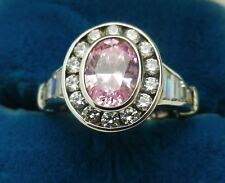 New Sterling Silver Pink Solitaire Crystal Halo Ring Sz 5-9+ by Uncas