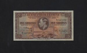 Bermuda 5 Shillings 1937 P-8 VF