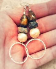 Gioielli etnici e tribali orecchini marrone argento