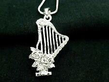 Harp w Roses Pendant Women Austrian Crystal Necklace Silver Plated New