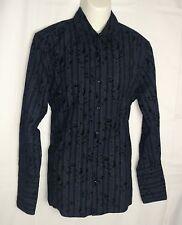 Vintage Red Men's Button Front Shirt Black with Black Velvet Print 100% Cotton L