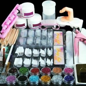 Nail Art Tool Starter Kit-Set DIY Full Acrylic Powder Nail Tips Brush File Form.