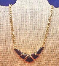 "Vintage Black Enamel Necklace - Gold Tone - 1980's - 16"""