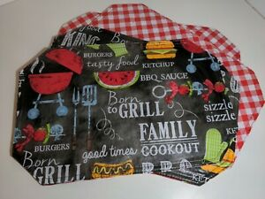 Placemats REVERSIBLE 4 Grill BBQ Red White Check Hamburger Vinyl Dad Man Gift