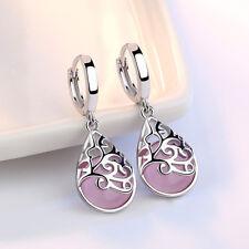 Real 925 Silver Flower Opal Retro Earrings Ear Buckle Women Wedding Jewelry