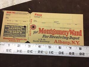 Montgomery Ward Raw Fur Shipping Tag,,Albany N y Address,vintage traps,newhouse,