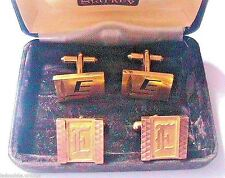 "FRENCH 1950s MEN 14K GOLD PLATED CUFFLINKS~LETTER INITIAL"" E ""~2 PAIRS~NEW & BOX"