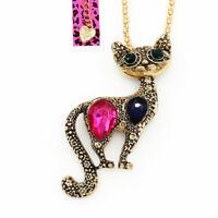 Betsey Johnson Resin Crystal Cute Cat Kitten Pendant Chain Necklace/Brooch Pin