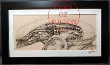 Xenomorph Alien HR Giger Framed Mated Art Print Signed by Artist Chris Oz Fulton