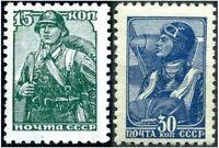RARE WW2 ERA RUSSIA/USSR MILITARY THEME STAMPS in PRISTINE COND! SOLDIER & PILOT