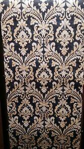 Rich Navy/Blue &Gold, Textured, Damask Wallpaper