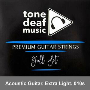 ACOUSTIC GUITAR STRINGS Extra Light Gauge 010 – 048 bronze wound 6 string steel