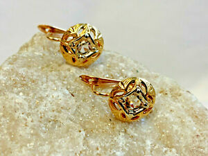 Gorgeous! Vtg 18k Yellow Gold Clear Stone Lever Back Earrings Jewelry 2.99g