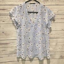 TOKITO Floral Blue Top Shirt Blouse Size 8
