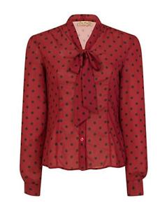 Lindy Bop 'Fallon' Scarlet Red Polka Dot Chiffon Pussy Bow Blouse BNWT Size 12
