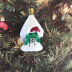 Figural Christmas Light Bulb Snowy Cottage Tested Working C-6 Vintage Milk Glass