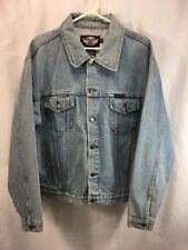 Harley Davidson Denim Coat Jean Trucker Jacket Mens Medium Blue 100% Cotton