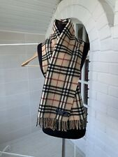 "Burberry London 100% Cashmere Beige Nova Check Plaid Scarf L53"" W12"""