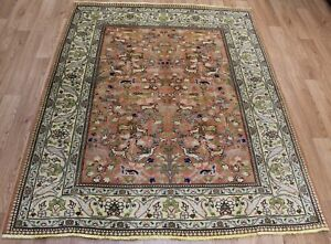 Antique Persian Tabriz rug Garden design 170 x 135cm outstanding design & color