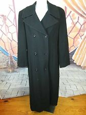 Gallo Black Lambs Wool Cashmere Belted Coat Size 12