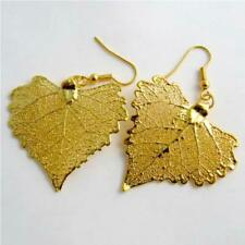 real cotton leaf gold leaf earrings