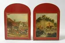 Pair of vintage bookends with hunting scenes