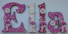 Flamingo Wooden Letters Childrens Name Door Sign (PRICE PER LETTER) Pink
